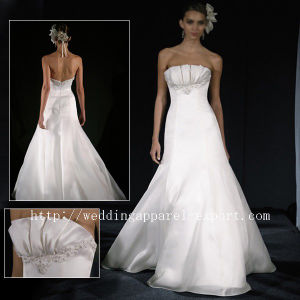 Fashion Simple Style White Strapless Satin Custom Wedding Gown (NV328020)