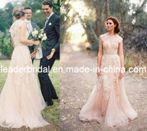 Blush Pink Bridal Formal Gown Lace Bodice Wedding Dress B14715 pictures & photos