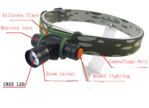 Camouflage 180 Lumens Mini AA/14500 CREE LED Headlamp pictures & photos