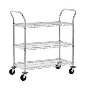 "4""Casters Mesh Cart Rack with 3 Shelves Wire Shelving pictures & photos"