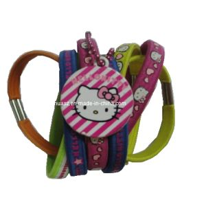 Children′s Flat Elastic Hair Bands with Kitty Printings pictures & photos