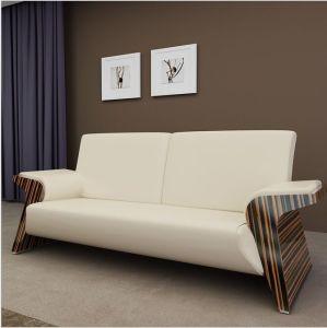 China Good Price Leather Sofa Set with Ebony Armrest (LS-001)