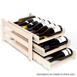Hot Sales Natural Pine Wood Wine Rack with 3 Tray pictures & photos