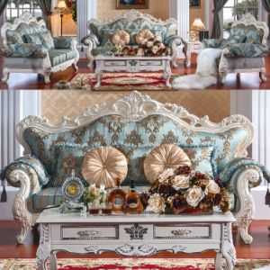 Fabric Sofa with Wooden Sofa Frame and Table (D956)