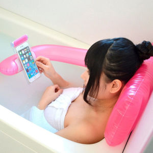 PVC Inflatable Bath Pillow with Mobilephone Case pictures & photos