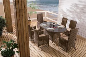 Patio Furniture Outdoor Wicker Destileen Dining Set Rattan Chairs Table (J3066R) pictures & photos