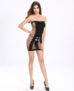 Ladies Fishnet Tube Dress Babydoll with Side Hollow out Design pictures & photos
