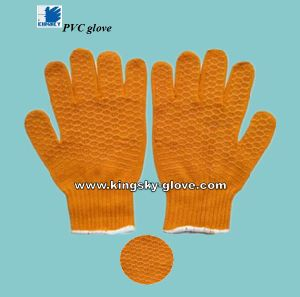 Criss-Cross Design PVC Coated Knitted Work Glove (PVC Glove-Safety Glove) pictures & photos