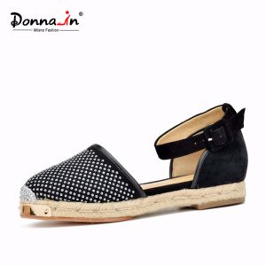 Lady Metal-Toe Rivet Suede Leather Casual Women Rope Flats Sandals pictures & photos