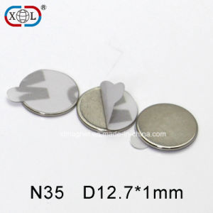 Grade N35 Round Neodymium Magnet with Adhesive Backing pictures & photos