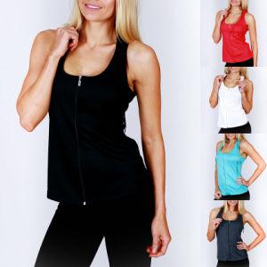 Slim Fit Yoga Dry Fit Women Zipper Vest/Tank Top/Singlet (A860) pictures & photos