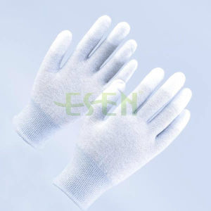 High Quality 13 Gauge Carbon Fiber Reinforced PU Coated Antistatic Gloves pictures & photos