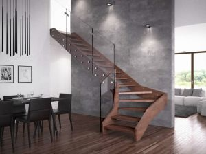 Modern Stairway Interior Wood Staircase with Glass Railing pictures & photos