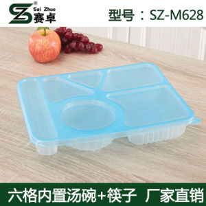 Thermoforming PP 6compartment Diposable Plastic Food Container pictures & photos