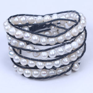 Genuine Leather Wrap Freshwater Pearl Beads Bracelet pictures & photos