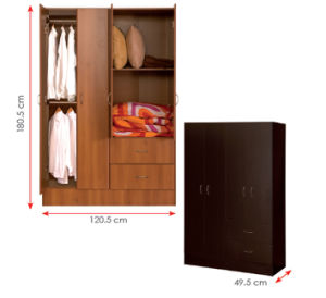 Melamine Laminated MFC Wooden Clothes Storage Cabinet /Wardrobe (HX-DR316) pictures & photos