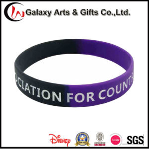 New Ideas Segmented Colour Personalized Silksreen Printed Rubber Bracelets