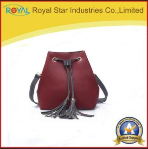 Women Bag Hoop PU Metal Tassel Pendant Top-Handle Handbag