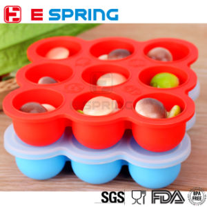 Wholesale Price Nontoxic Odorless 9 Cavity Silicone Baby Food Container Tray with Silicon Lid