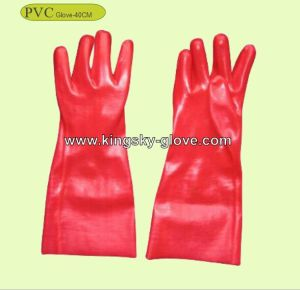 Red PVC Industrial Work Glove with Ce Certificate (40cm) pictures & photos