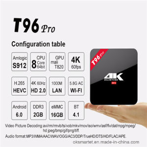 High Quality Online Free Live TV Channels TV Box with Kodi 17 4k 2k Full HD Android TV Box T96 PRO pictures & photos