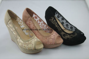 New Arrival Peep Toe Fashion Lady Shoes with Wedge Design pictures & photos
