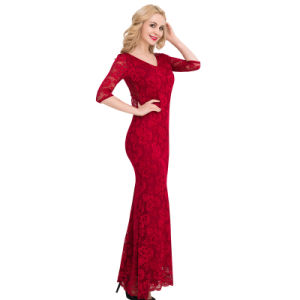 2017 New Arrivals Wholesale Women Red/Black/Blue Hig Full Lace Bridal Evening Dress pictures & photos
