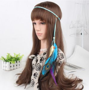 Fashion Brown Suede Woven Handmade Hair Accessories Bird Feathers Pendant Hair Band with Colorful Beads Retro Women Headbands