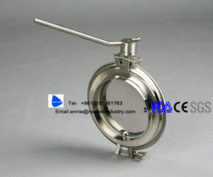 Stainless Steel Hygienic Pharmaceutical Pastes Butt Welded Butterfly Valve pictures & photos