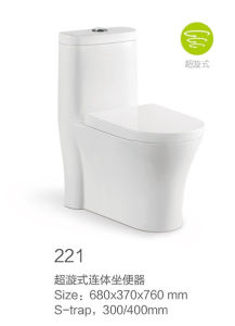 221 Siphonic One-Piece Toilet Set with Decoration pictures & photos