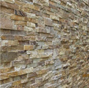 Golden Wood Slate Tiles Wall Veneer Stone Cultural Slate pictures & photos