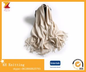 Hotselling Wool Cashmere Scarf Pashmina Tassel Scarf with Solid Color pictures & photos