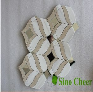 Decorative Wall White Marble and Mirror Glass Mixed Mosaic Tile pictures & photos