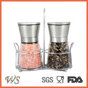 Ws-Pgs001 Premium Salt and Pepper Grinder Set with a Bonus Stand Manual Salt and Pepper Mill pictures & photos