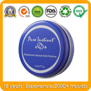Round Solid Perfume Tin Box for Cosmetics pictures & photos