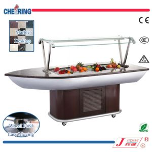 Restaurant Equipment Fan Cooling Wooden Salad Bar Refrigerator with Ce pictures & photos
