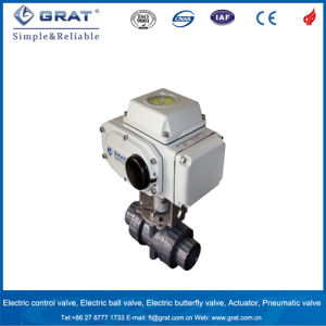 Dn40 Gray Color Union Connection PVC Electric Ball Valve pictures & photos