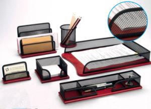 Wooden Desk Accessories Set/Metal Mesh Stationery Office Set/ Office Desk Accessories pictures & photos