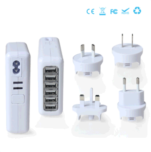 6 Ports Travel Charger with Interchangeable Plugs 5V=4A pictures & photos