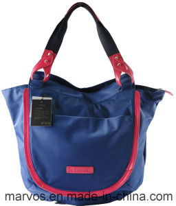 Hot Stylish Nylon with Genuine Leather Handbag Wholesale Stock Cheap Shoulder Bag (BS13106) pictures & photos