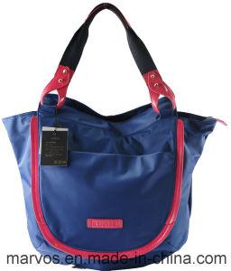 Hot Stylish Nylon with Genuine Leather Handbag Wholesale Stock Cheap Shoulder Bag (BS13106)