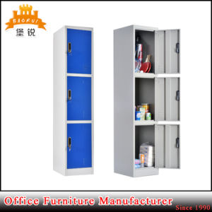 3 Tier Layer Colorful Hotel Steel Clothes Storage Locker Wardrobe with Key Lock pictures & photos