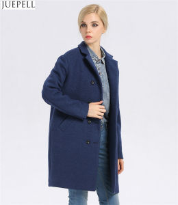 European Brand New Good Quality Women Winter Coat Long Double-Breasted Women′s Windbreaker Blue Wool Coat pictures & photos