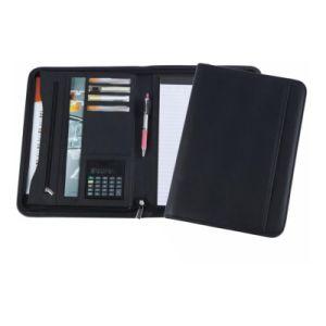 New Designed with Zipper Document Holder File Folder PVC/PU Portfolio with Calculator