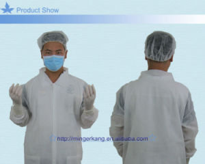Blue PP Non Woven Lab Coats with Knitted Collar pictures & photos