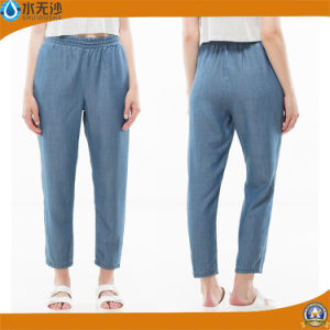Custome Women Elastic Waist Jogger Pants Denim Jeans pictures & photos