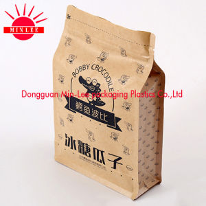 Kraft Paper Stand up Pouch/ Flat Bottom Gusset Plastic Bag Food Grade Quad Sealing Side Guesst Pouch pictures & photos