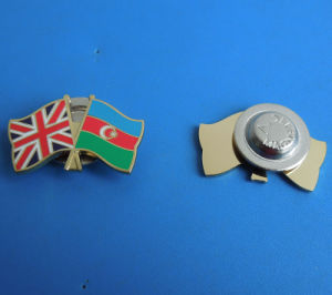 Union Jack & Azerbaijan Flag Magnetic Metal Badge pictures & photos