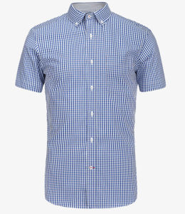 100% Cotton Blue Mens Formal Short Sleeve Shirt pictures & photos