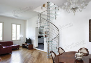 Contemporary Stainless Steel Glass Spiral Staircase pictures & photos